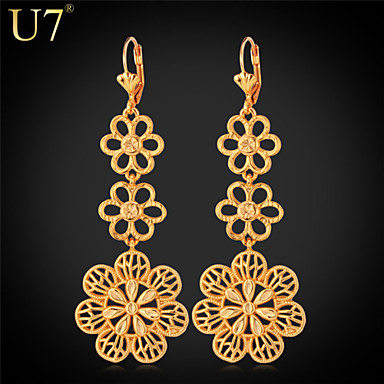 Buy U7® Women's Exquisite Flowers Earrings 2015 New Fashion Jewelry Gift 18K Gold Plated Hollow Maxi Long