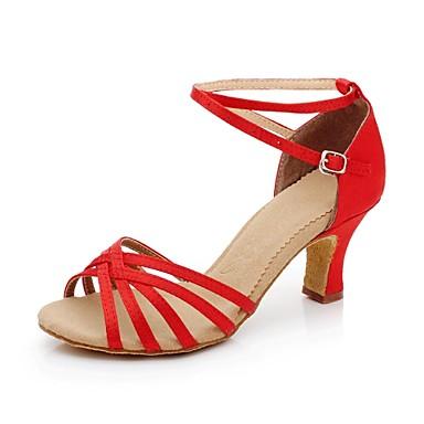Women's Satin Ankle Stripe Latin Dance Shoes Sandals(More Colors)