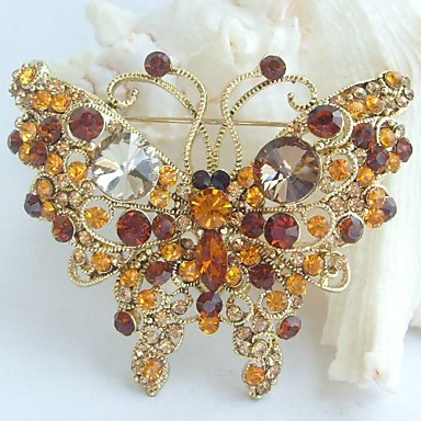 2.56 Inch Gold-tone Topaz Rhinestone Crystal Butterfly Brooch Pendant Art Deco