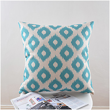 Light Blue Pattern Cotton/Linen Decorative Pillow Cover 4052120 2016 ? $11.04