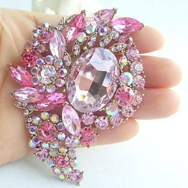 3.15 Inch Gold-tone Pink Rhinestone Crystal Flower Brooch Pendant Art Deco