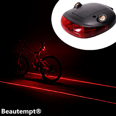 Rear Bike Light Waterproof 2 Straight Lines Red Laser + 3-Mode 3-LED Bike Tail Warning Safety Light (2xAAA)
