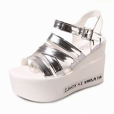 Zapatos de mujer plataforma punta abierta creepers for Zapatos de trabajo blancos