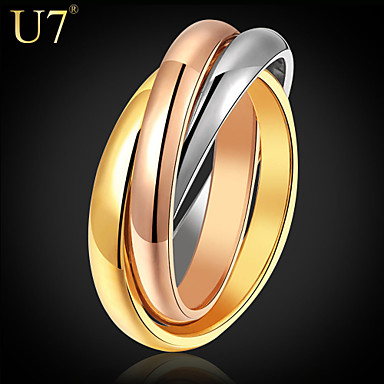 Buy U7® Women's Layered Rings 2015 New Jewelry Stainless Steel/Rose Gold/18K Real Gold Plated Multi-tone Stacked Band