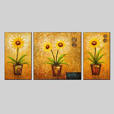 peinture l 39 huile ensemble de 3 style de fleurs mat riel de toile avec cadre tir pr t. Black Bedroom Furniture Sets. Home Design Ideas