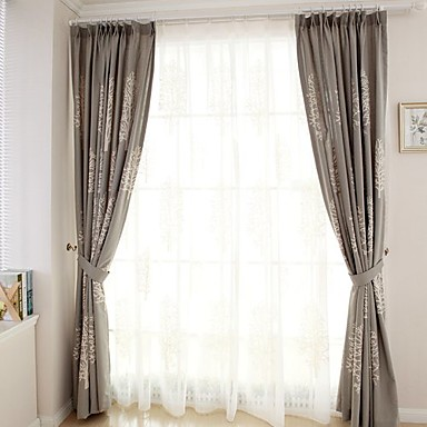 deux panneaux le traitement de fen tre moderne chambre coucher m tiss lin et polyester. Black Bedroom Furniture Sets. Home Design Ideas