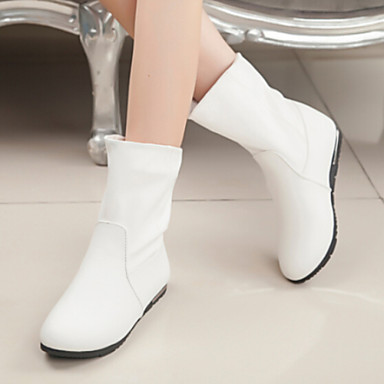 Women s shoes flat heel round toe fashion ankle boots black white