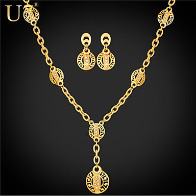 Buy U7® Women's Hollow G Pattern Gold Earrings 18K Real Plated Rhinestone Vintage Charm Necklace Set