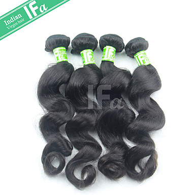 Buy Indian Natural Color 1B Hair Loose Wave Human Extension 12-30 Inch Bundles
