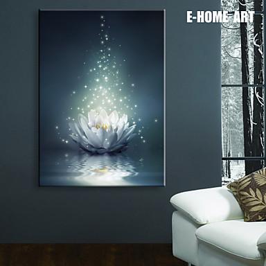 e home stretched led canvas print art white lotus on the water led flashing optical fiber print. Black Bedroom Furniture Sets. Home Design Ideas