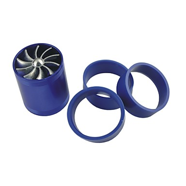 Vehicles Car Double Turbine Turbo Charger Air Intake Gas Fuel Saver Fan Blue