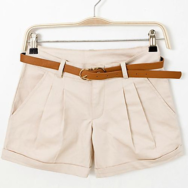 Women's Solid Pink / White / Black / Green / Yellow / Beige Shorts Pants , Casual