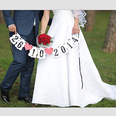 Personalised Wedding Save the Date Engagement Party Banner Photo Props with Ribbon