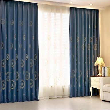 To paneler landets floral botaniske blå soverommet lin bomull ...