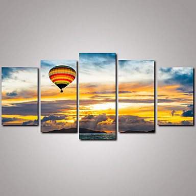 Buy 5 Panels Sunrise Beautiful Clouds Balloon Canvas Print Modern Wall Art Home Decor Unframed