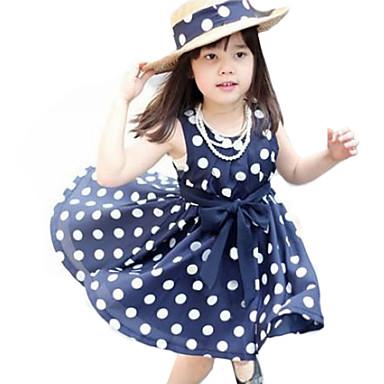 Girl's Summer Polka Dots Dark Blue Sleeveless Dress