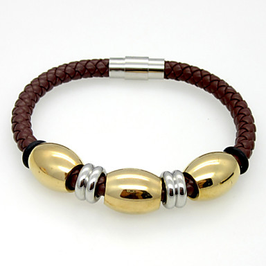 Buy Fashion Charm Stainless Steel Oval Beads Leather Bracelets 1pc