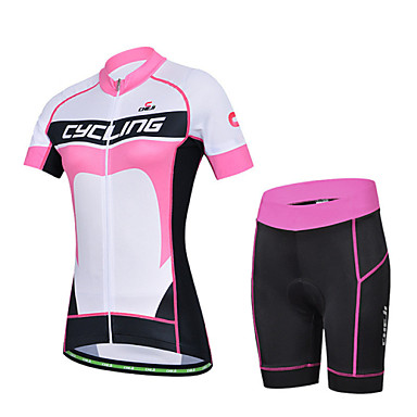 Buy CHEJI Women's Biking Comfortable Breathable Short-sleeve Cycling Jersey & Pant 3D Padd