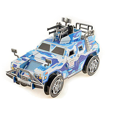 Buy Jigsaw Puzzles 3D Building Blocks DIY Toys War Chariot Paper Blue Model & Toy