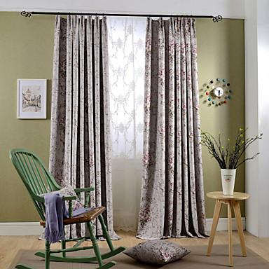 deux panneaux rustique floral botanique bleu rose chambre coucher polyester rideaux. Black Bedroom Furniture Sets. Home Design Ideas
