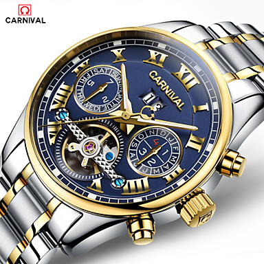 10f5fe9a4e07f Carnival رجالي ساعة الهيكل داخل الساعة أتوماتيك ستانلس ستيل الأبيض   ذهبي  30 m نقش جوفاء
