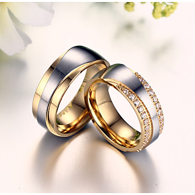 Buy Drill Super Luxury Zirconium 18 K Gold Titanium Steel Couples Ring