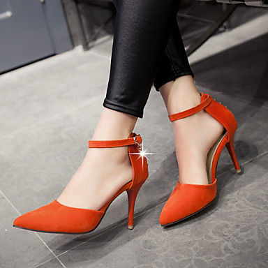 Buy Women's Shoes Heel Heels / Pointed Toe Sandals Office & Career Casual Black Red Gray Orange//F-4