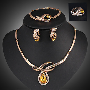 Buy Lucky Doll Crystal Gem 18K Gold Plated Rhinestone Tassel Necklace & Earrings Bracelet Ring Jewelry Sets