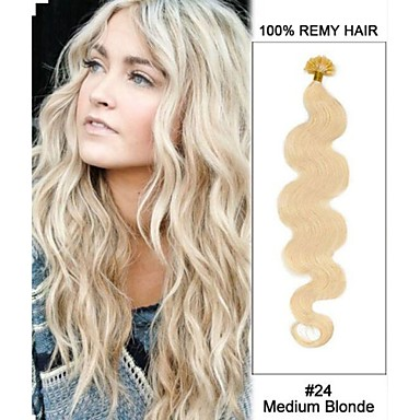 Buy 20'' #24 Medium Blonde Body Wave Nail Tip U 100% Remy Hair Keratin Extensions-100 strands,0.5g/ 0.8g/ 1g/strand