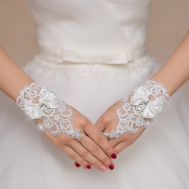 Wrist Length Fingerless Glove Lace Bridal Gloves / Party ... - photo #20