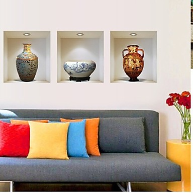 3d ceramic vase wall sticker home living room sofa