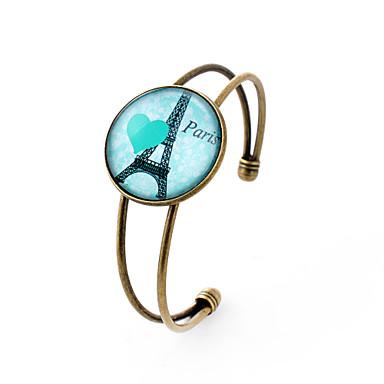 Buy Lureme® Simple Jewelry Time Gem Series Eiffel Tower Heart Charm Cuff Bangle Bracelet Women Gir