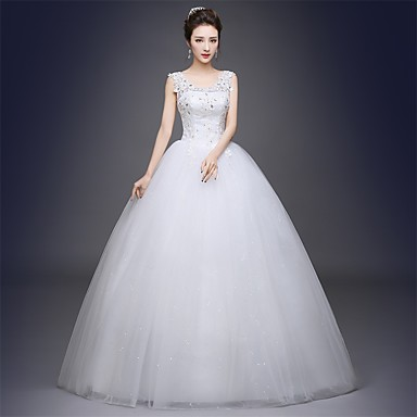 Ball Gown Wedding Dress Sparkle & Shine Floor-length Scoop Satin Tulle with Appliques