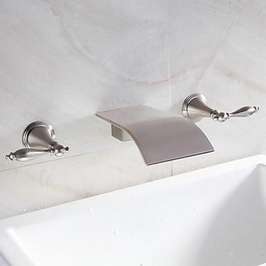 Waterval badkamer wastafel kraan wijdverspreide eigentijds ontwerp kraan nikkel finish 4997232 - Badkamer meubilair ontwerp eigentijds ...