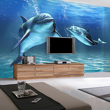 3d shinny leather effect large mural wallpaper ocean and for Dolphin mural wallpaper