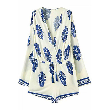 Women's Boho Print Blue/White Short Jumpsuits,Sexy Beach Deep V Neck Long Sleeve