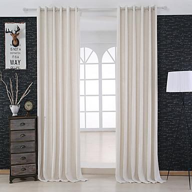 To paneler moderne solid elfenben soverom lin/ polyester blanding ...