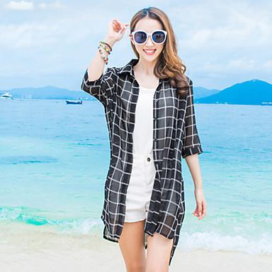 chemise aux femmes damier plage chic de rue et manches col de chemise blanc noir soie. Black Bedroom Furniture Sets. Home Design Ideas