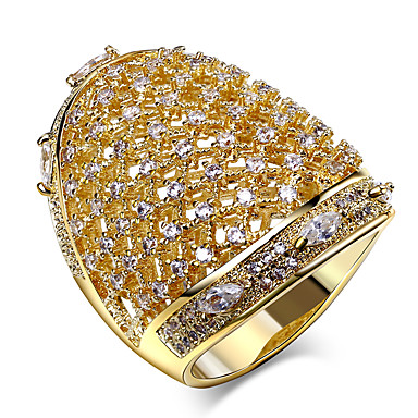 Buy Ring,Gold Plated AAA Cubic Zirconia Round Fashion Wedding / Party Daily Casual N/A Jewelry Women Band Rings 1pc,5 6 7 8 9
