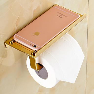 Gold Plated Finishing Solid Brass Material Toilet Paper Holder Bathroom Mobile Holder Toilet