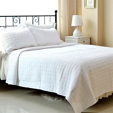 Buy 3PC Quilt Sets Full Cotton Pure White Jacquard 92 inchW*106 inchL