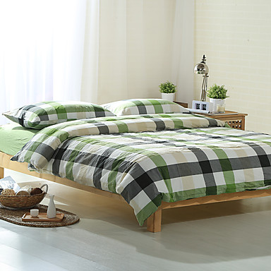 Green And Gray Plaid Washed Cotton Bedding Sets Queen King