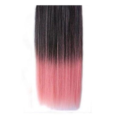 26 Inch Clip in Synthetic Black Pink Straight Hair ...