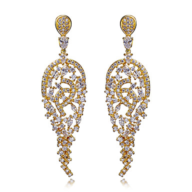 Buy beautiful Women Earrings 18K Gold & Platinum Plated White Cubic Zirconia Drop Bridal party Jewelery