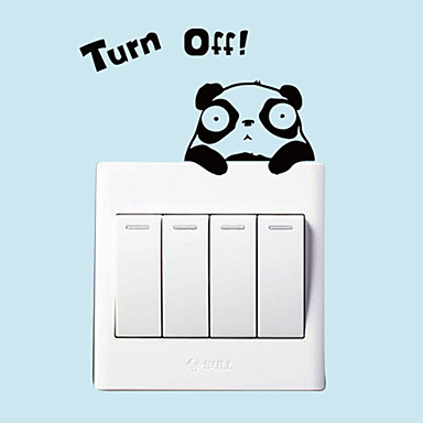 Diy Fashion Panda Turn Off Light Switch Stickers Pvc Removable Bedroom Living Room Wall Decals