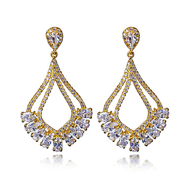 Buy Bohemia Style Brand New Drop Earring 18K Gold Platinum Plated Cubic Zirconia copper Earrings Jewelry