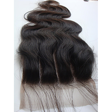 4x4 Brazilian Virgin Hair Lace Top Closure Body Wave 3 Part 10Inch