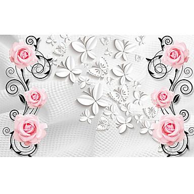 Effet cuir shinny grande fresque papier peint roses art papier peint d corati - Grande decoration murale ...
