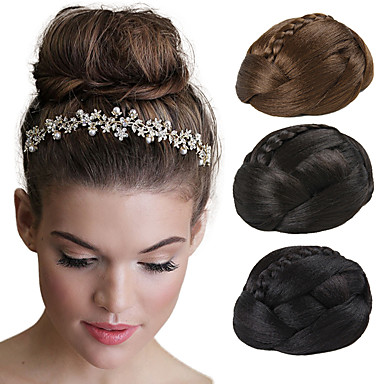 Fabulous Wedding Bridal Updo Chignon Bun Clips Braids Synthetic Straight Hairstyle Inspiration Daily Dogsangcom