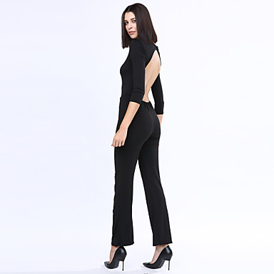 Women's Cut Out Sexy Beach Casual Party Round Neck Backless Slim Jumpsuit